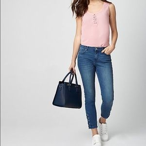 Le chateau Skinny ankle Denim Jeans with design